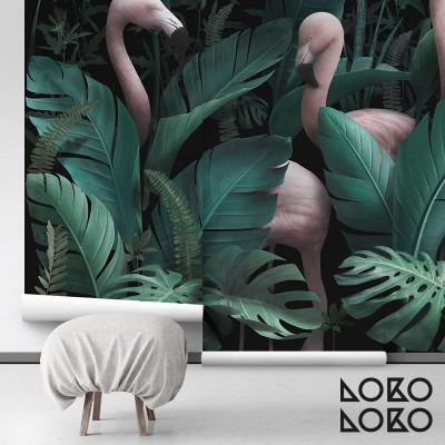 Paradiso - ecological self-adhesive wallpaper without pvc. banana trees, monsteras and flamingos living green and pink, lokoloko