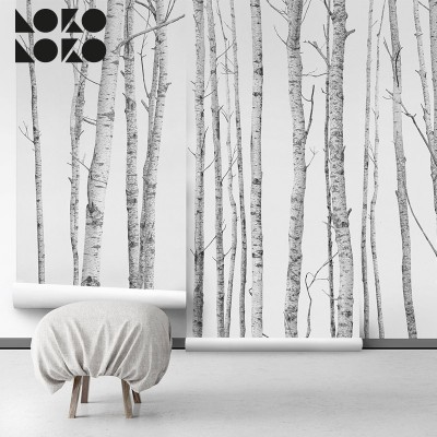 Ecological wallpaper the forest for bedroom walls gray tones lokoloko