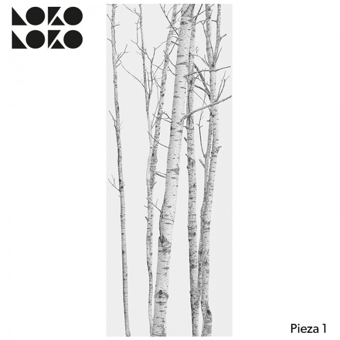Piece 1 wallpaper mural without pvc the forest for walls in grays and nordic tones lokoloko