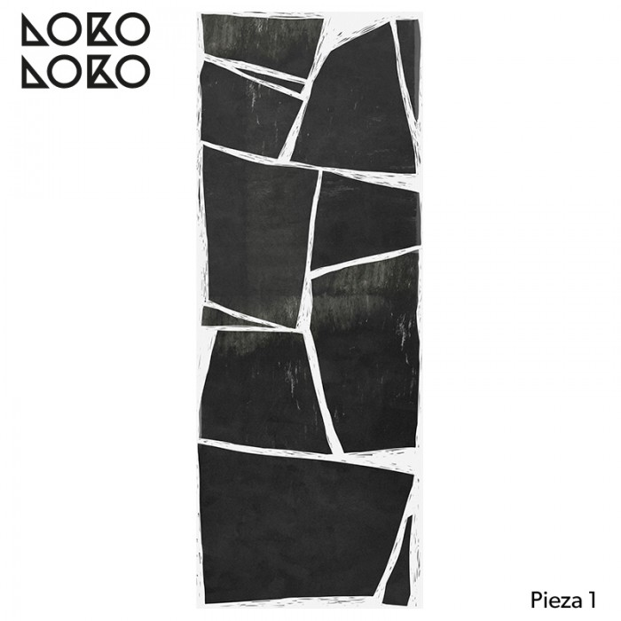 Piece 1 of wall paper Abstraction, without pvc, to apply directly on the wall, white, black and gray tones lokoloko