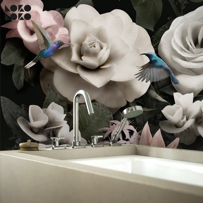 Timeless - Design mural flowers, roses, hummingbirds, play in washable vinyl self-adhesive wall kitchen tiles. Lokoloko