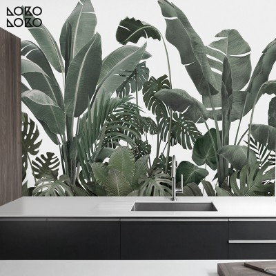 Botanical Garden - mural leaves of banana trees, palms, monsteras. Washable vinyl self-adhesive wall kitchen tiles. Lokoloko