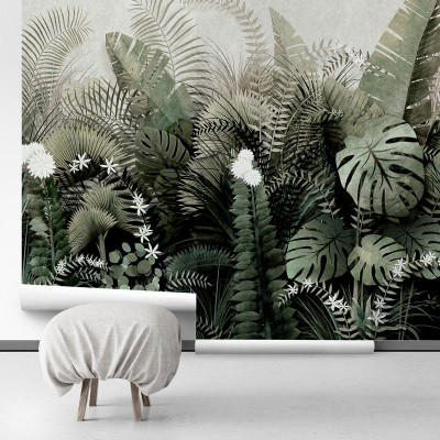 Wallpaper tropical mural to decorate your living-room
