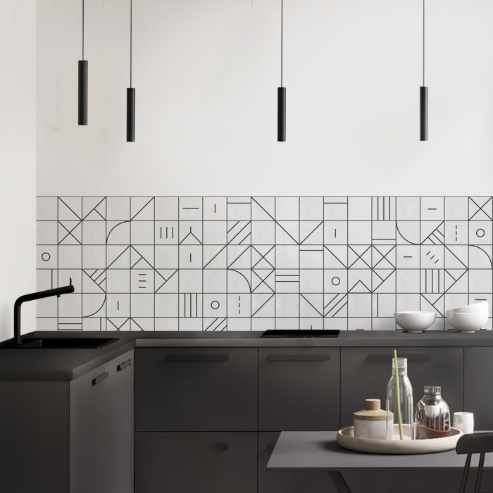 Bauhaus geometry black tiles - Washable vinyl self-adhesive for furniture, walls and kitchen