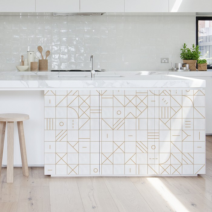 Bauhaus geometry camel tiles - Washable vinyl self-adhesive details texture
