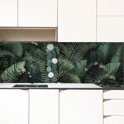 Dark Tropical Mural - full leaves of banana trees, palms, monsteras. Washable vinyl self-adhesive wall furniture