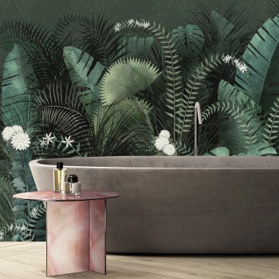 Dark Tropical Mural - palms, monsteras. Washable vinyl self-adhesive wall bathroom furniture kitchen tiles