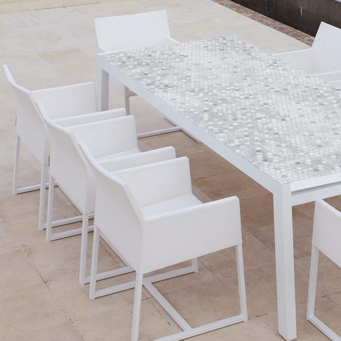 Stone penny mosaic - Washable vinyl self-adhesive for furniture table terrace