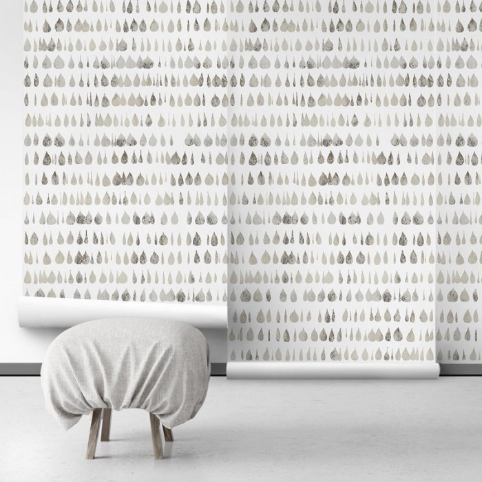 Drops 2 - pattern drops are warm grey over beige background - self-adhesive Eco-friendly PVC-free