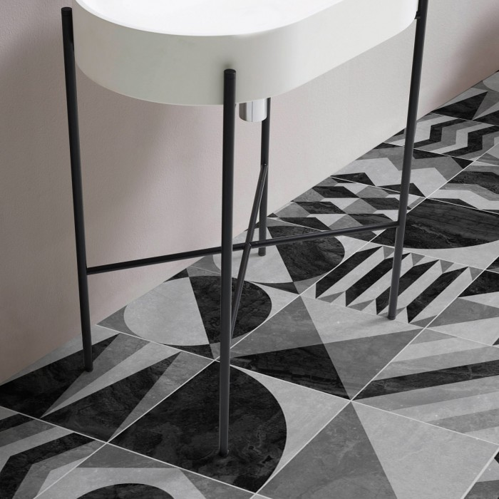 Dark vintage geometry vynil for floor self-adhesive opaque