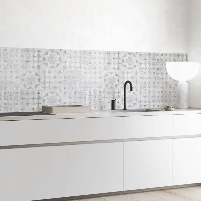 Hidráulico desgastado - vinilo autoadhesivo lavable opaco para frentes copetes cocinas