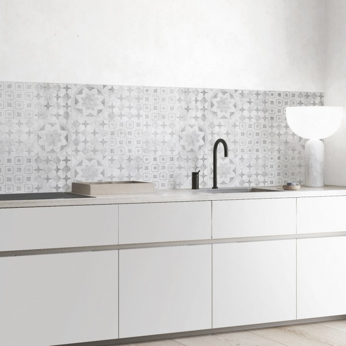 Worn hydraulic tiles - self-adhesive washable opaque venial for walls kitchen
