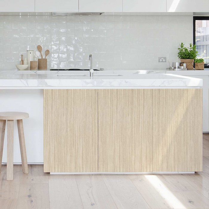 Clear Elm Wood - Washable vinyl self-adhesive for furniture kitchen island and floor bathroom