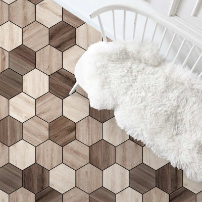 Hexagonal oak and walnut wood tiles - Washable vinyl self-adhesive for furniture and floor details texture