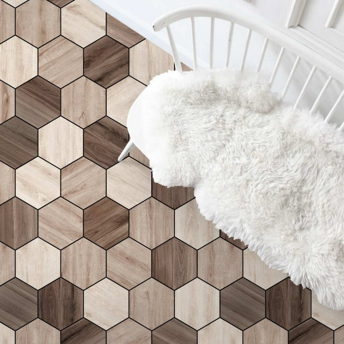 Hexagonal oak and walnut wood tiles- Washable vinyl self-adhesive for furniture and floor details texture