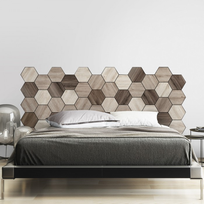 Hexagonal oak and walnut wood tiles