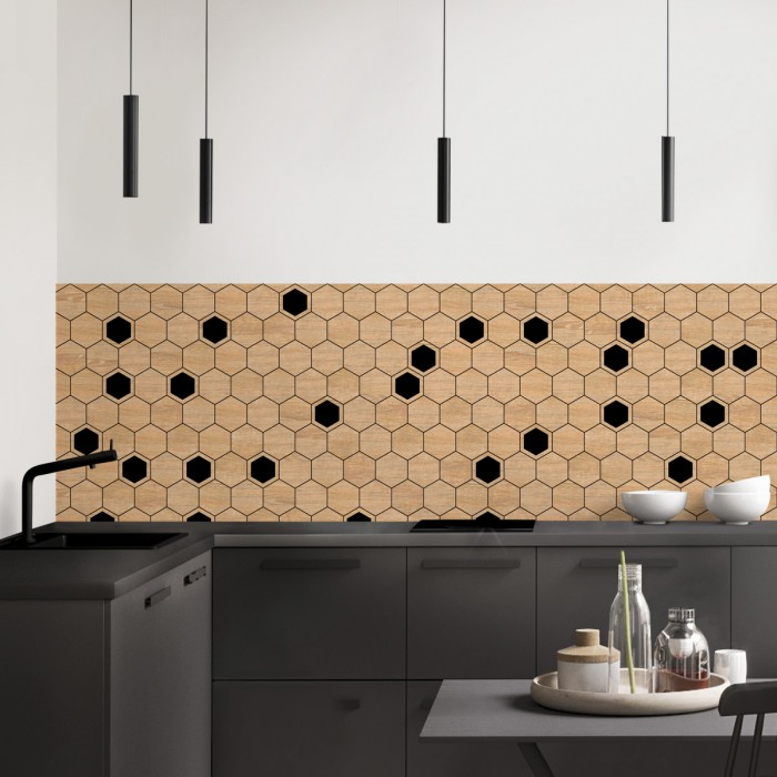 Hexagonal tiles made of maple wood and black - Washable vinyl self-adhesive for furniture, walls. kitchen backsplash tiles