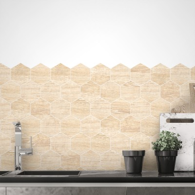 Hexagonal wood tiles scandinavia white boards - Washable vinyl self-adhesive for furniture and floor details texture