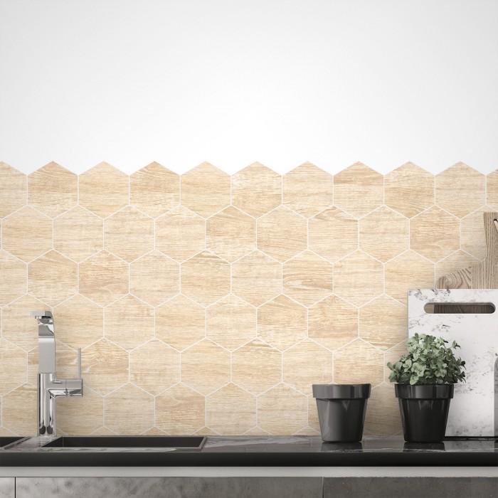 Hexagonal wood tiles scandinavia white joints - Washable vinyl self-adhesive for kitchen backslash, furniture, bathroom floor