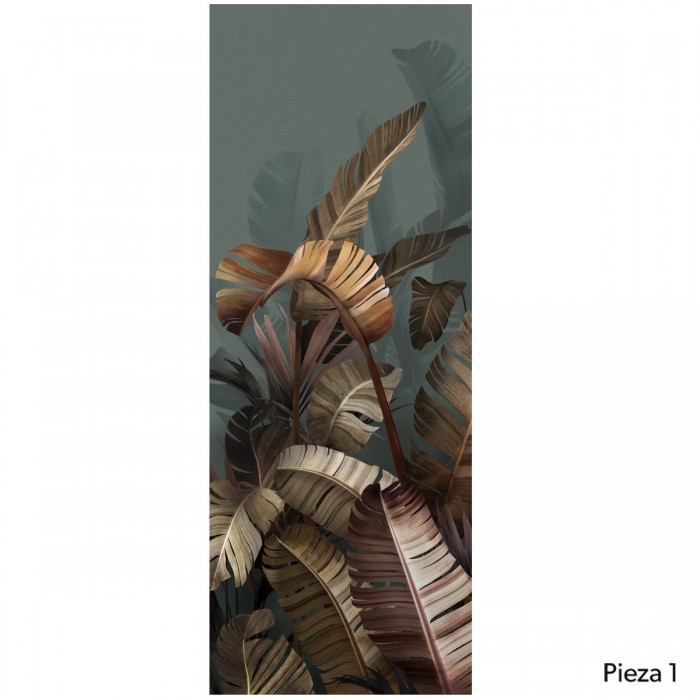 The Eden- piece 1 - self-adhesive free pvc ecological - leaves of palm tree and banana. Greens, oranges and browns. Lokoloko