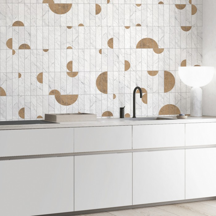 Vertical tiles Art Deco Marble - Washable vinyl self-adhesive opaque for walls and floor. Backslash kitchen walls tiles