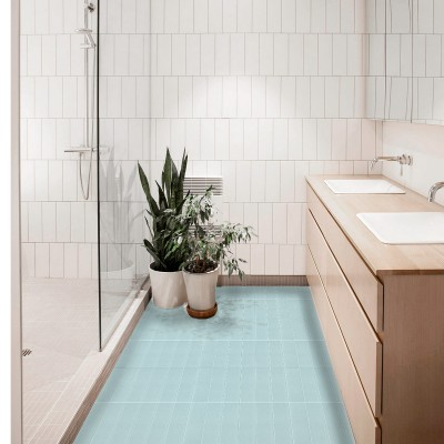 Mediterranean blue vertical tiles - Washable vinyl self-adhesive opaque for furniture,floor and walls kitchen bathroom