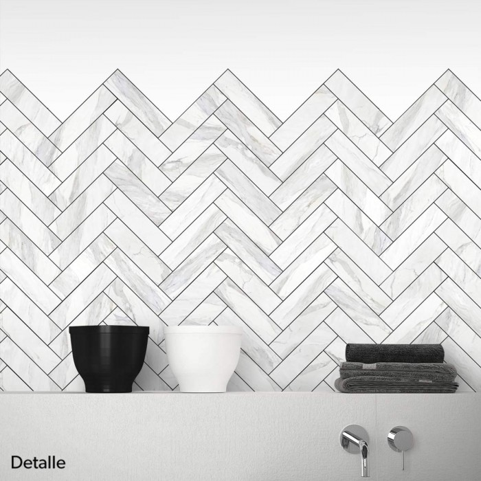 White marble herringbone tiles black joints - Washable vinyl self-adhesive opaque for furniture and floor bathroom kitchen