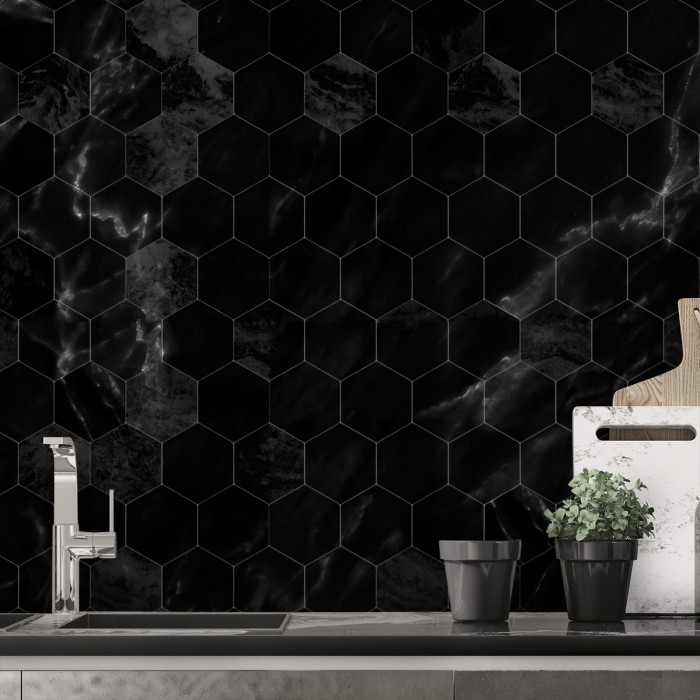 Black marble hexagonal tiles