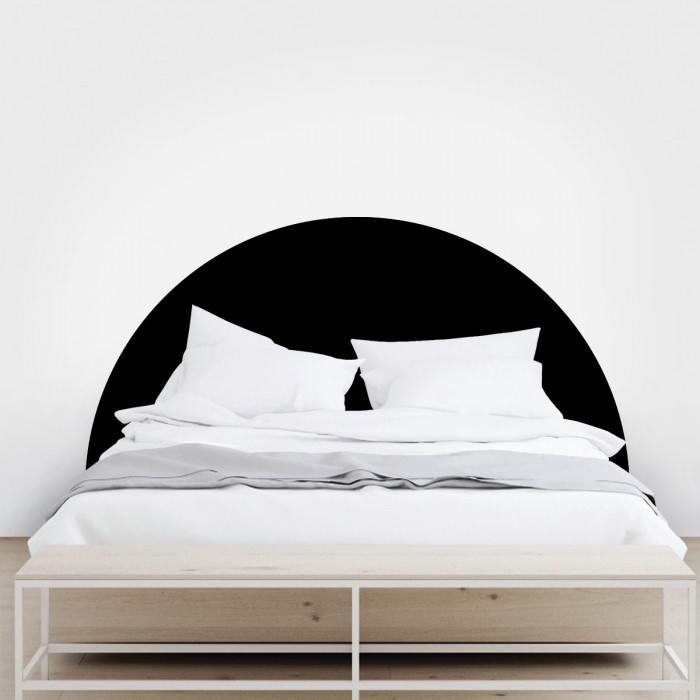 Headboard semicircle black - Washable self-adhesive vynil for furniture and walls