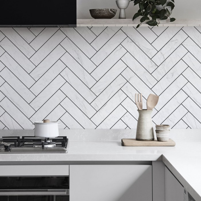 Carrara marble herringbone tiles white joints - Washable vinyl self-adhesive for tiles walls backslash
