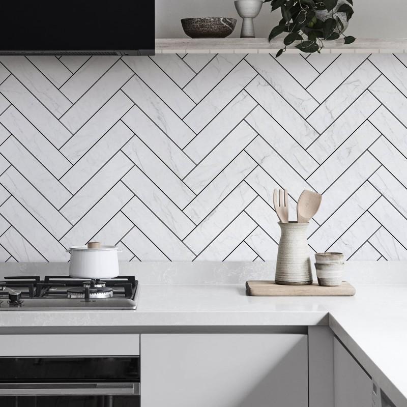 Carrara Marble Herringbone Tiles Black Joints Washable