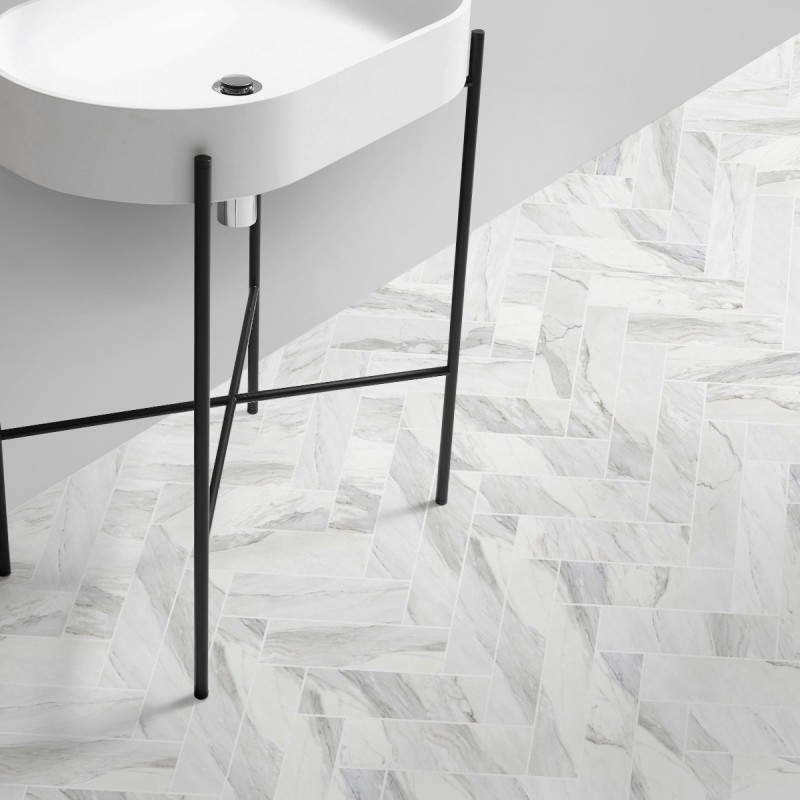 Carrara Marble Herringbone Tiles White Joints Washable