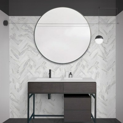 Carrara marble herringbone tiles white joints - Washable vinyl self-adhesive for tiles floor bathroom