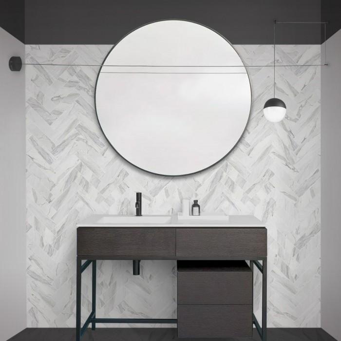 Carrara marble herringbone tiles white joints - Washable vinyl self-adhesive for tiles walls bathroom