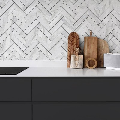 White marble herringbone tiles black joints - Washable vinyl self-adhesive opaque for furniture and floor details