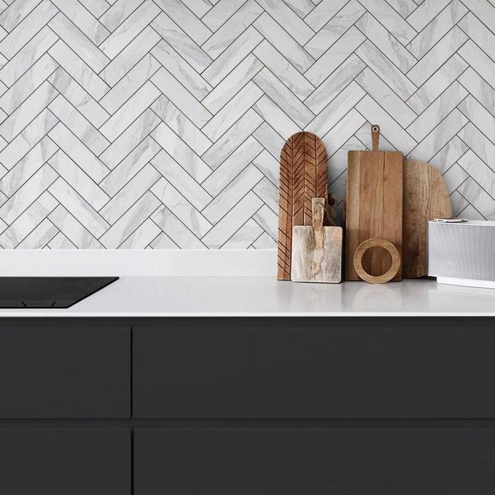 White marble herringbone tiles black joints- Washable vinyl self-adhesive opaque for walls kitchen blackslash