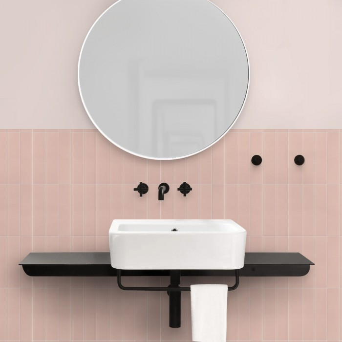 Vertical pink tiles white joints- Washable vinyl self-adhesive opaque for floor and walls bathroom