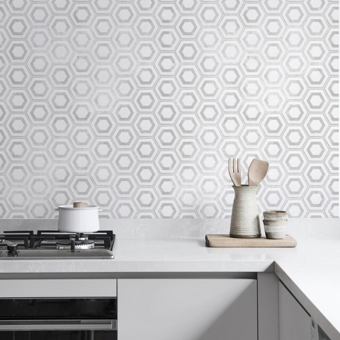 Vinyl to wrap kitchen furniture doors with design of hexagons pattern