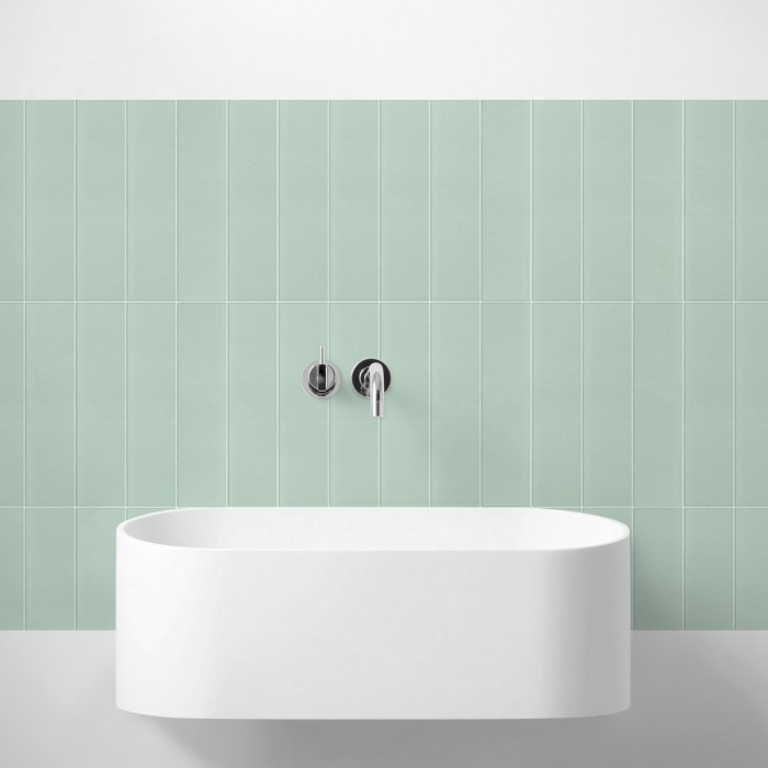 Vertical tiles mint green white joints - Washable vinyl self-adhesive opaque renovate for wall bathroom