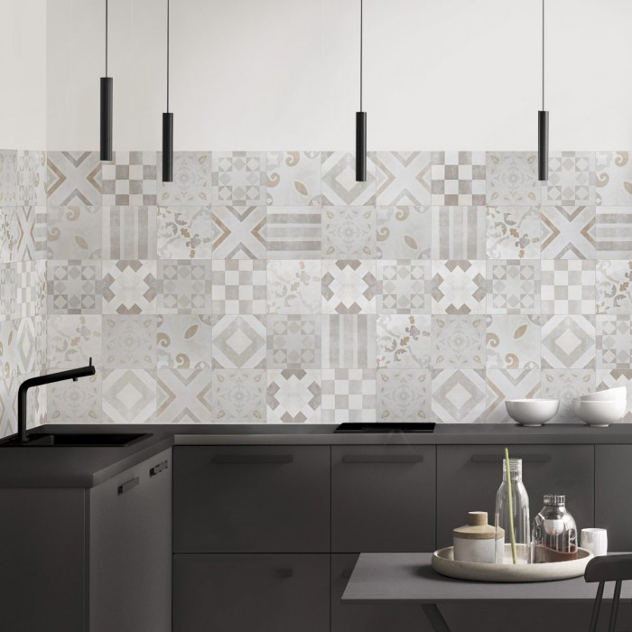 Washable vinyl for the decoration of kitchens, doors and walls, with a classic ceramic print of geometric motifs