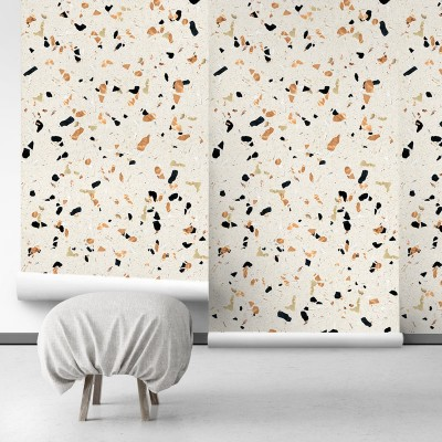 Warm Terrazzo - Self-Adhesive eco-friendly PVC-free wallpaper . DIY Walls halls, salon, living, bedroom