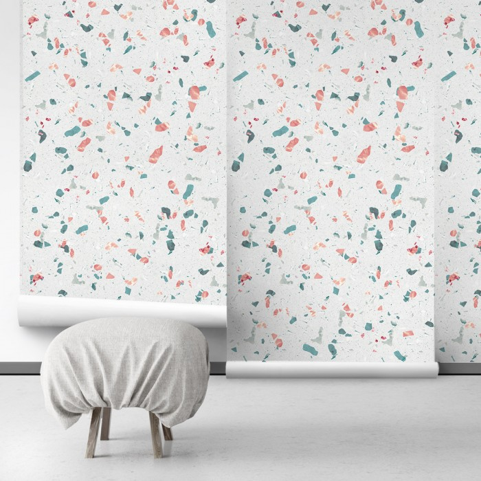 Mediterranean terrazzo - Self-Adhesive eco-friendly PVC-free wallpaper . DIY Walls halls, salon, living, bedroom