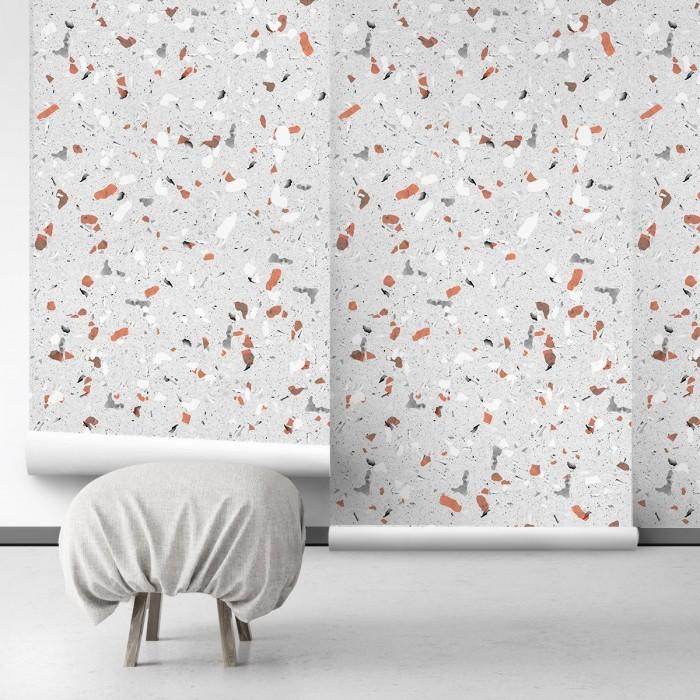 Grey and Orange terrazzo - Self-Adhesive eco-friendly PVC-free wallpaper . DIY Walls halls, salon, living, bedroom
