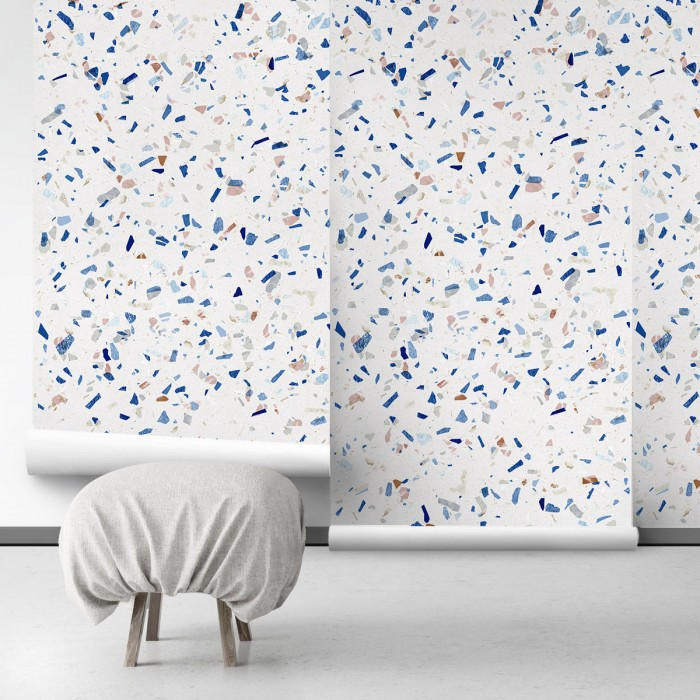 Cold Terrazzo - Self-Adhesive eco-friendly PVC-free wallpaper . DIY Walls halls, salon, living, bedroom