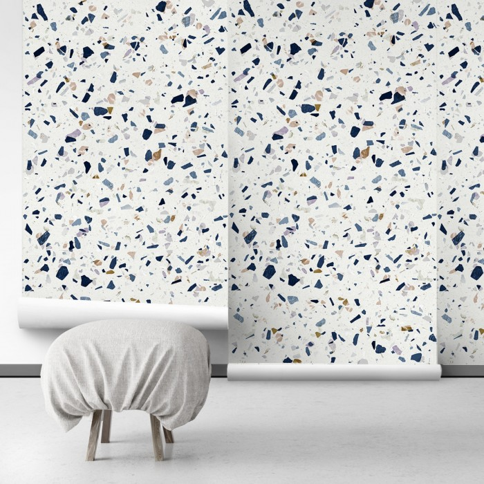 Dark Terrazzo - Self-Adhesive eco-friendly PVC-free wallpaper . DIY Walls halls, salon, living, bedroom