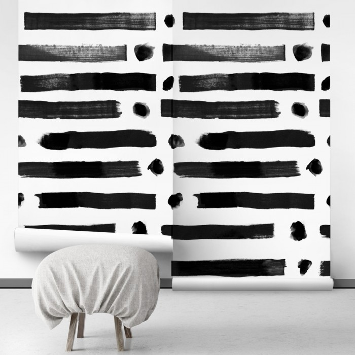 Brush lineal dots- self-adhesive free pvc ecological. norEtnic, mudcloth, bedroom, hall, salon. Lines black background white