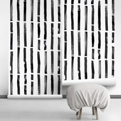 Brush vertical self-adhesive free pvc ecological. norEtnic, mudcloth, bedroom, hall, salon. Lines black background white