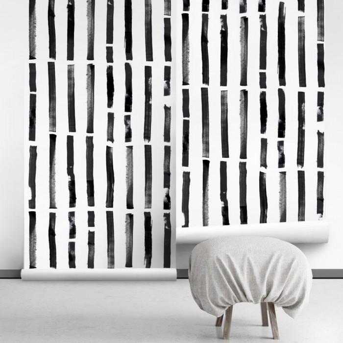 Brush vertical self-adhesive free pvc ecological. norEtnic, mudcloth, bedroom, hall, salon. Lines black background white