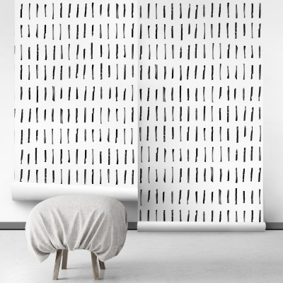 Brush vertical mini self-adhesive free pvc ecological. norEtnic, mudcloth, bedroom, hall, salon. Lines black background white