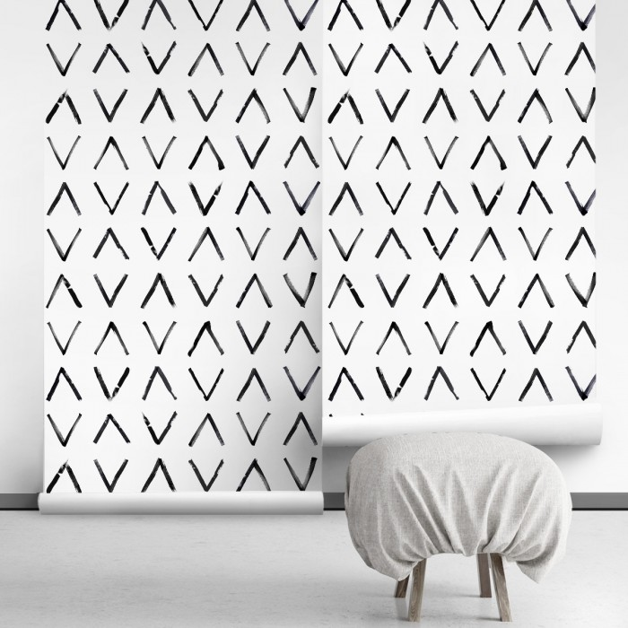 Mudcloth Africano -self-adhesive free pvc ecological. norEtnic, mudcloth, bedroom, hall, salon. Arrow black background white